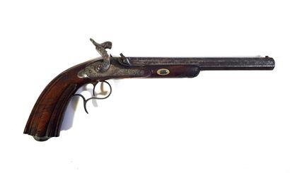 Grand pistolet à percussion à crosse moulurée...