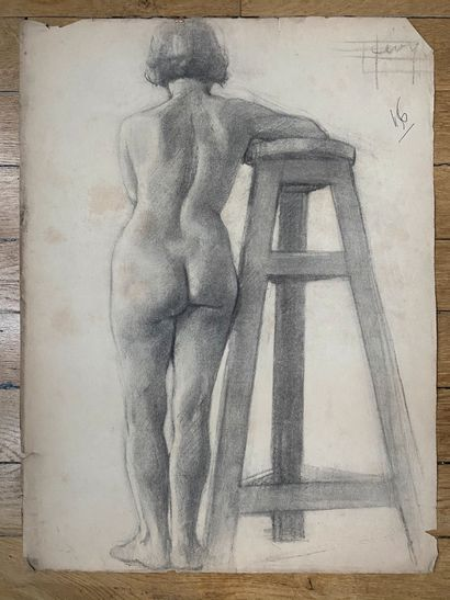 PIERRE LÉVY dit DARDEL (ENG/ 1917-1991) I. Woman standing from behind, leaning against...