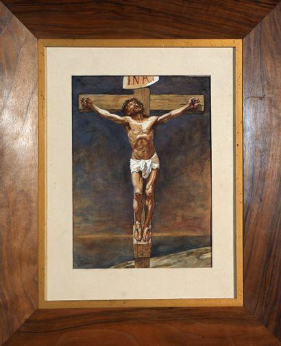 Léon BONNAT (1833-1922) Christ en croix Gouache sur papier fort, petites piqûres...