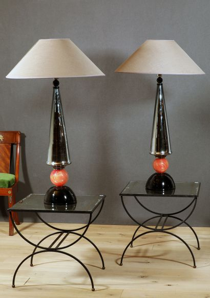 MURANO Importante paire de lampes en verre...