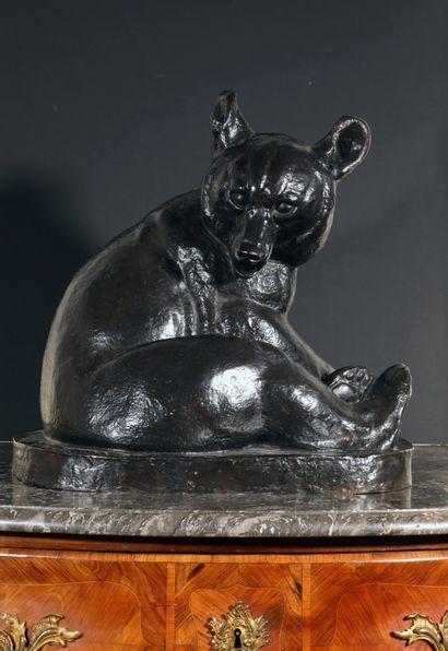 Irénée ROCHARD (1906-1984) Sculpture en bronze à patine foncée noire nuancée figurant...