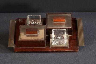 Encrier en palissandre, métal chromé et cristal...