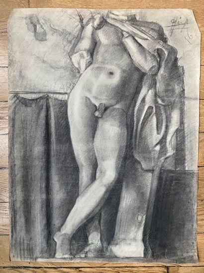 PIERRE LÉVY dit DARDEL (FRA/ 1917-1991) I. Etude d'après Jeune faune jouant de la...