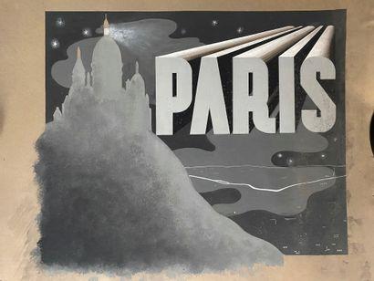 PIERRE LÉVY dit DARDEL (FRA/ 1917-1991) Paris Montmartre, projet de publicité huile...