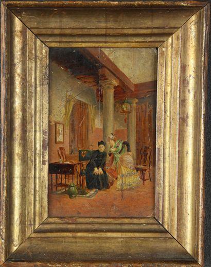 Ecole française vers 1900. La confession...