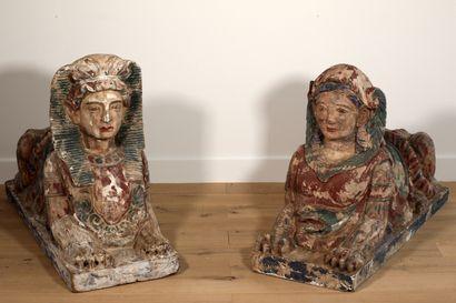 Importante et exceptionnelle paire de sculptures...