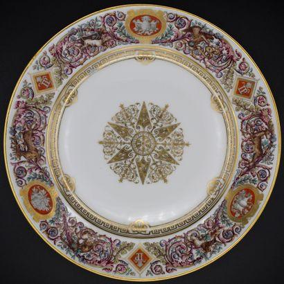 PARIS D'APRES SEVRES. Six assiettes du service de chasse du roi Louis-Philippe pour...