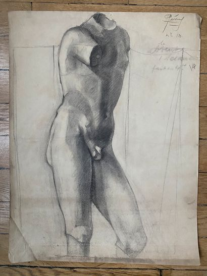 PIERRE LÉVY dit DARDEL (FRA/ 1917-1991) I. Etude d'après la Vénus de Milo fusain...