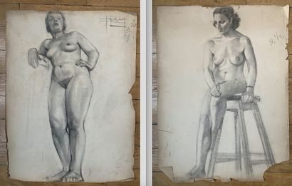 PIERRE LÉVY dit DARDEL (FRA/ 1917-1991) I. Femme assise sur un tabouret, jambes...