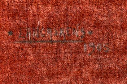 Maurice Langankens (ou Langaskens) (1884-1946) Cheval de trait Technique mixte sur...
