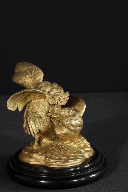 Sujet en bronze ciselé et doré figurant...