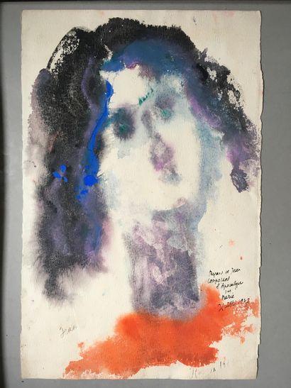 JEAN GUITTON (FRA/ 1901-1999) Regard de Jean composant l'Apocalypse sur Marie signé,...
