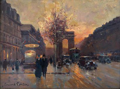 ÉCOLE FRANÇAISE DU XXe siècle Paris, les Champs-Elysées avec l'inscription 'Edouard...