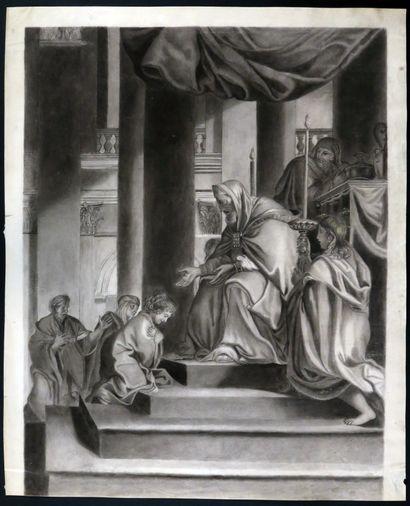 CHARLES LE BRUN (d'après). La présentation de la Vierge au Temple. Grand dessin...