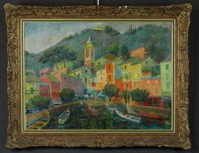 Suzanne AGRON (XXème siècle). Vue du port...