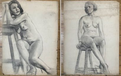PIERRE LÉVY dit DARDEL (ENG/ 1917-1991) I. Woman sitting, resting on a stool signed...