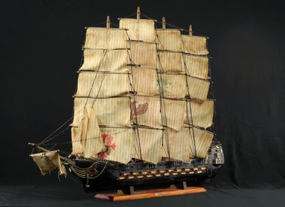 Maquette d'un bateau du XVIIIème siècle,...