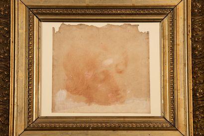 Ecole italienne du XVIIème siècle. Tête de jeune femme. Sanguine sur papier vergé....