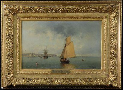 Tony DE BERGUE (1820-1890) Marine. Huile...