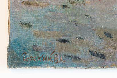 Vladimir Ilyich GORSKY (Né en 1923 à Kostroma, Russie) Grande huile sur toile représentant...