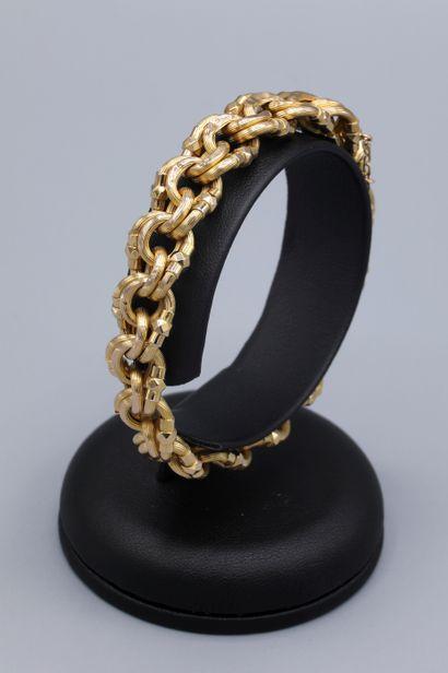 Bracelet en or jaune 18K maille double jaseron,...