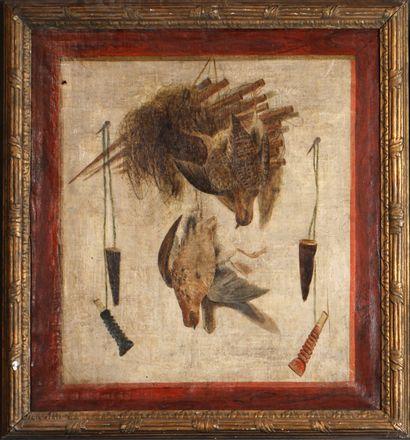 Ecole XVIIIe siècle. Paire de tableaux de retour de chasse Deux huiles sur toile,...