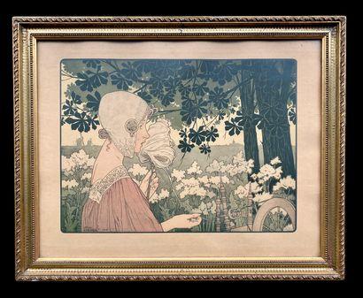 Henri PRIVAT-LIVEMONT (1861-1936) Deux lithographies en couleur d'époque Art nouveau...
