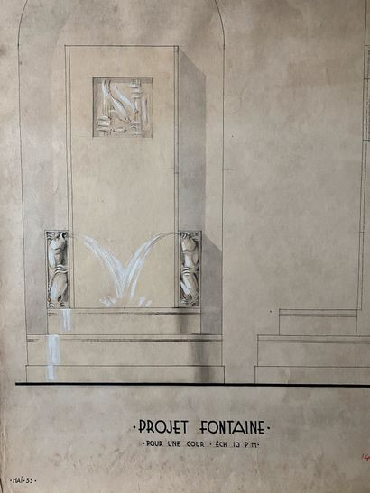 PIERRE LÉVY dit DARDEL (ENG/ 1917-1991) Project for a fountain Gouache on chamois...