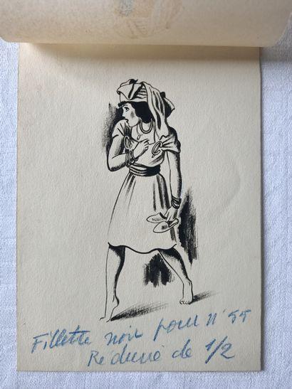 PIERRE LÉVY dit DARDEL (FRA/ 1917-1991)  Ensemble complet de cinq dessins préparatoires...