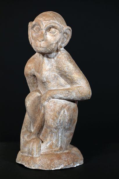 Sculpture en terre cuite patinée blanc/gris...