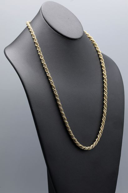 Collier en or jaune et blanc 18K maille corde...