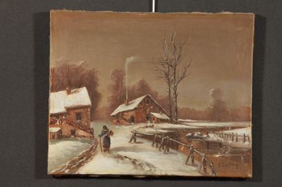 J. CHATALIN (20th century). The hamlet under the snow. Oil on canvas, signed lower...