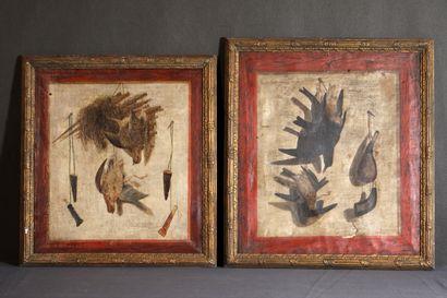 Ecole XVIIIe siècle. Paire de tableaux de...