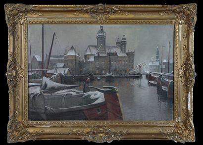 ECOLE MODERNE Vue du port d'Amsterdam sous...