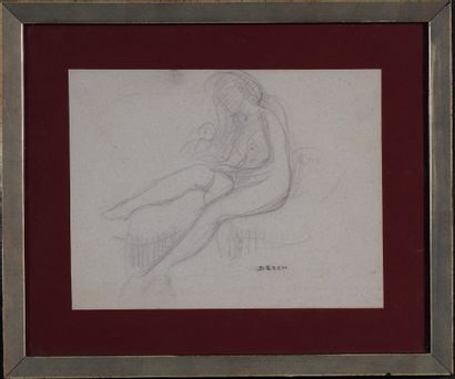 Auguste DESCH (Nancy 1877-Laxou 1924) Nu au divan Mine de plomb sur papier canson,...