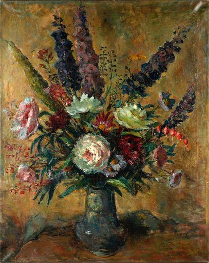 SADJI (1914-2005). BBouquet de fleurs. Huile...