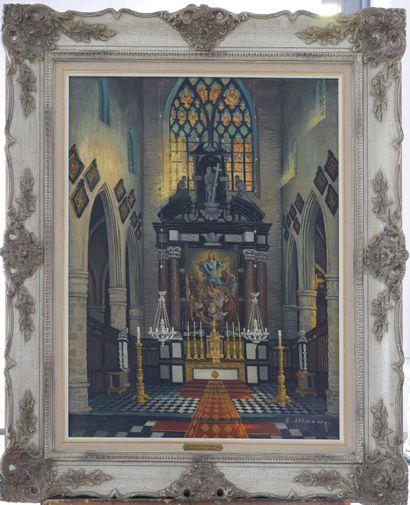 L.MOENS (XXe)  « Maître-autel de l'église...