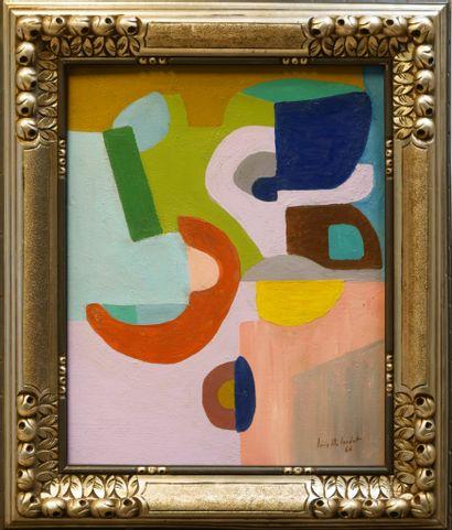 Louis Marie LONDOT (1924-2010) Composition, 66 Huile sur panneau signée et datée...