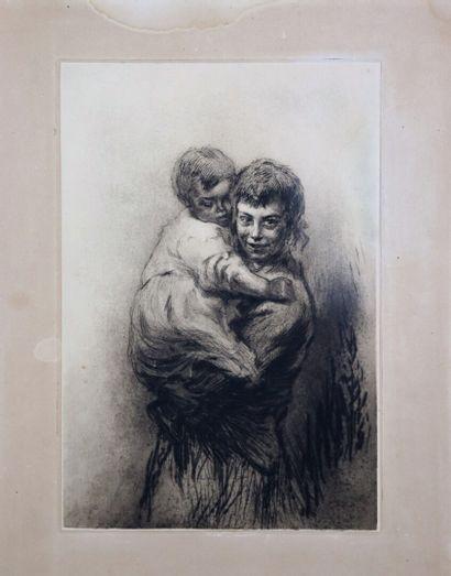 Edgar CHAHINE (1874-1947).  Mère et enfant....