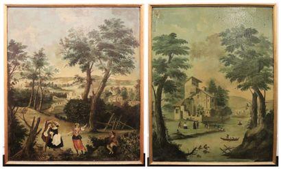 Ecole française du XVIIIème siècle.  Scènes...