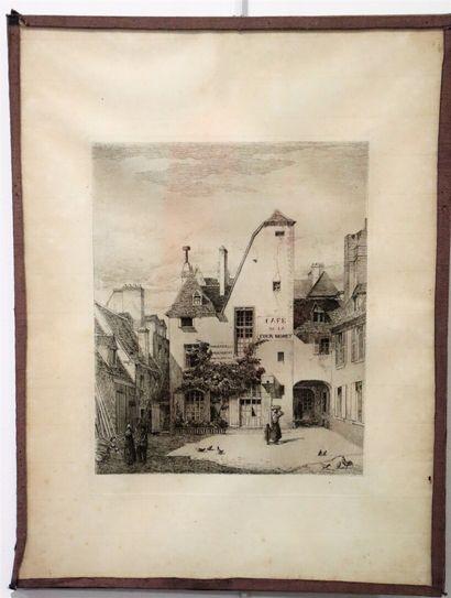 Armand QUEYROY (1830-1893).  Cour Moret à...