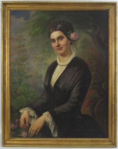 Karl HAPPEL (1819-1914).  Femme à la rose....
