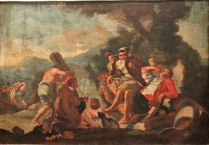 Ecole italienne du XVIIème siècle.  Les buveurs....