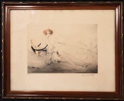 Louis ICART (1888-1950).  La femme au parasol....