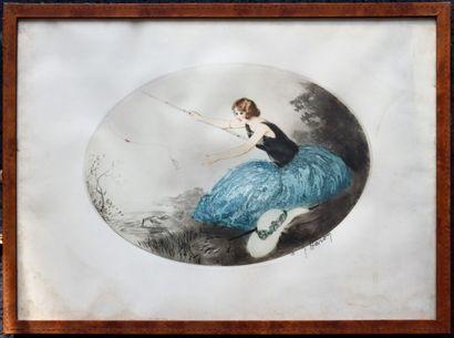 Jean HARDY (né en 1880- ?).  Femme à la pêche....