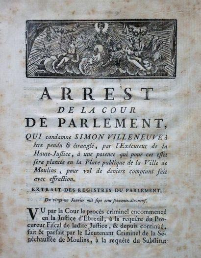 Arrêts de la Cour de parlement.  Exécution...