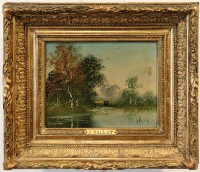 Jean-Emile VALLET (mort en 1899).  Paysage...