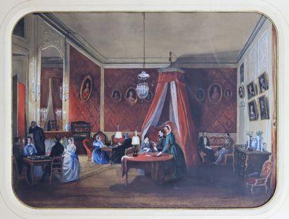 Ecole française du XIXème siècle.  Le salon...