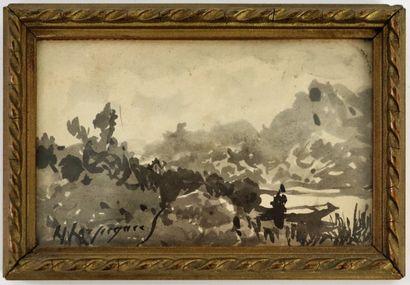 Henri Joseph HARPIGNIES (1819-1916).  Paysage...