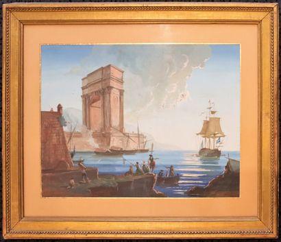 Ecole napolitaine du XIXème siècle.  Marine...